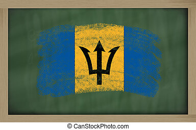 national flag of barbados on blackboard painted with chalk