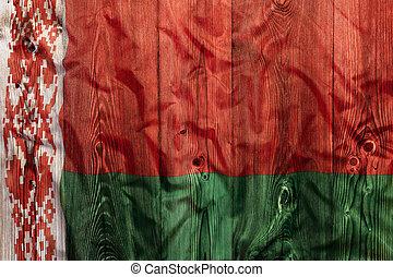 National flag of Belarus, wooden background