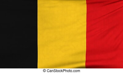 National flag of Belgium flying on the wind