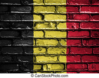 National Flag of Belgium on a Brick Wall
