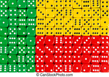 National flag of Benin in background of dices