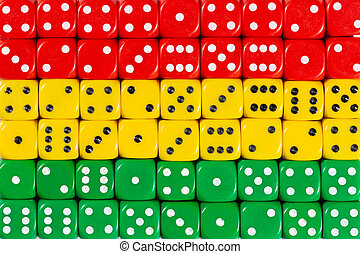 National flag of Bolivia in background of dices