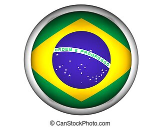 National Flag of Brazil, button style
