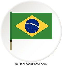National flag of Brazil icon circle