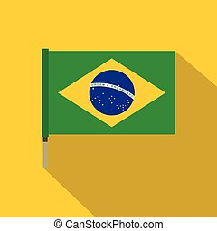 National flag of Brazil icon, flat style