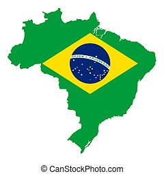 National flag of Brazil in country silhouette