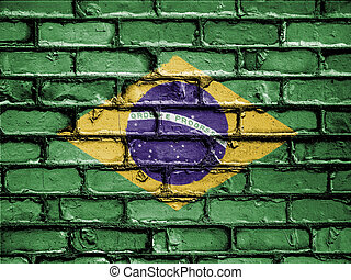 National Flag of Brazil on a Brick Wall