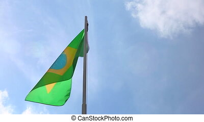 National flag of Brazil on a flagpole