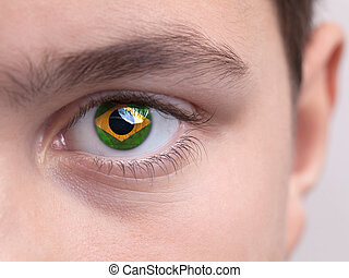 National flag of Brazil on a young boys iris