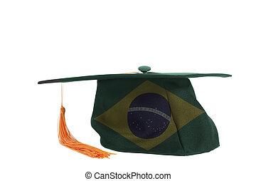 National flag of Brazil on Graduation Cap