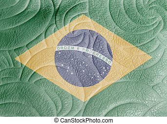 National flag of Brazil on leather texture