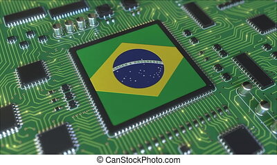 National flag of Brazil on the operating chipset. Brazilian information technology or hardware development related conceptual 3D animation