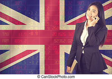 National flag of britith with a large display of daily stock market price.Vintage color