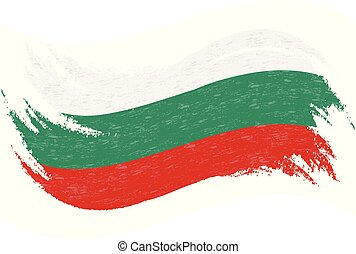 National Flag Of Bulgaria, Designed Using Brush Strokes,Isolated On A White Background. Vector Illustration.