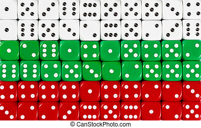 National flag of Bulgaria in background of dices