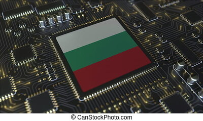 National flag of Bulgaria on the operating chipset. Bulgarian information technology or hardware development related conceptual 3D animation