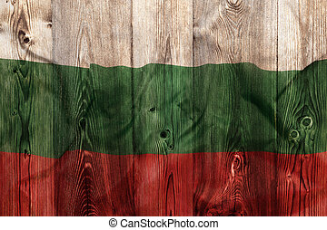 National flag of Bulgaria, wooden background