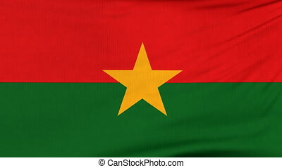 National flag of Burkina Faso flying on the wind