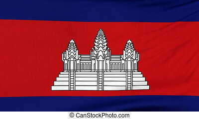 National flag of Cambodia flying on the wind