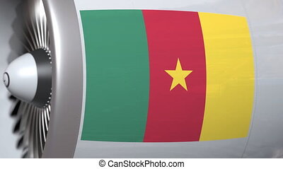 National flag of Cameroon on airliner tourbine engine....
