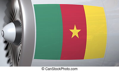National flag of Cameroon on airliner tourbine engine. Aviation related 3D rendering