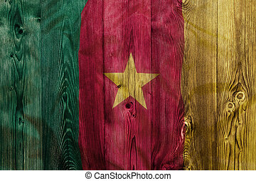 National flag of Cameroon, wooden background