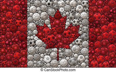 National Flag of Canada Soccer Balls Mosaic Illustration Design Concept