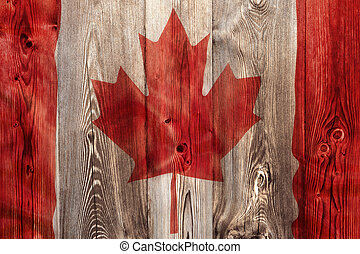 National flag of Canada, wooden background