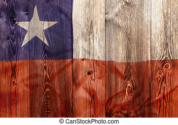National flag of Chile, wooden background