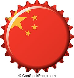National flag of China on a bottle cap. Vector Illustration