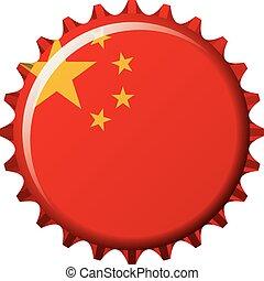 National flag of China on a bottle cap. Vector Illustration