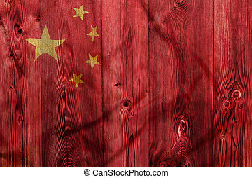 National flag of China, wooden background