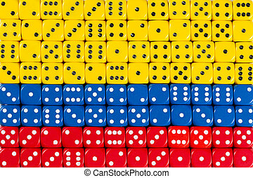 National flag of Colombia in background of dices