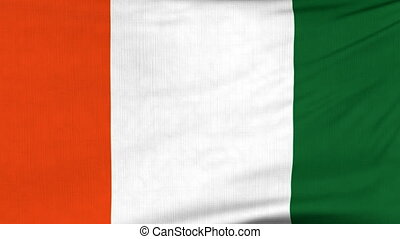 National flag of Cote d'Ivoire flying on the wind