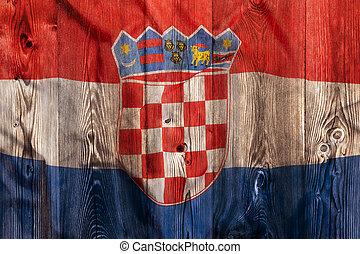 National flag of Croatia, wooden background