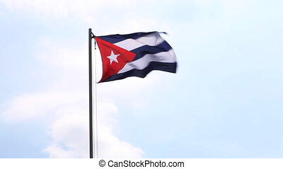 National flag of Cuba on a flagpole