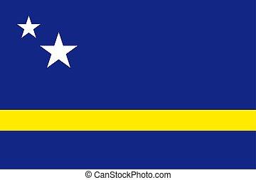 National flag of Curacao island in Caribbean sea
