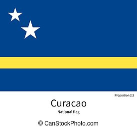 National flag of Curacao with correct proportions, element, colors