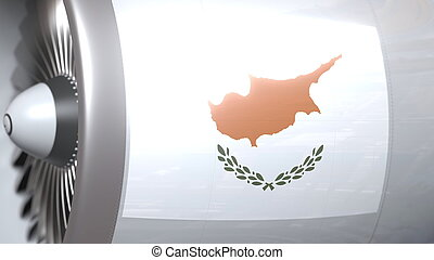 National flag of Cyprus on airliner tourbine engine. Aviation related 3D rendering