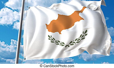 National flag of Cyprus on sky background. 3D rendering