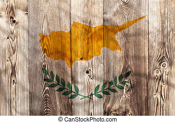National flag of Cyprus, wooden background
