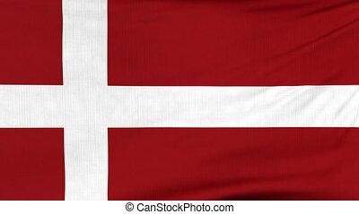 National flag of Denmark flying on the wind - National flag...