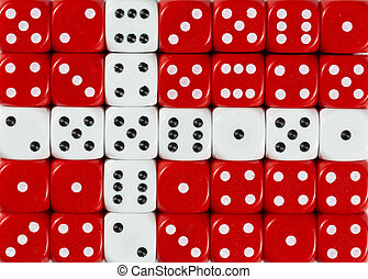 National flag of Denmark in background of dices