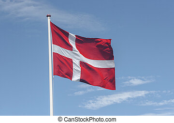National flag of Denmark in red and white