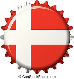 National flag of Denmark on a bottle cap. Vector Illustration