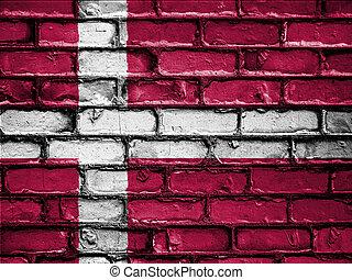 National Flag of Denmark on a Brick Wall
