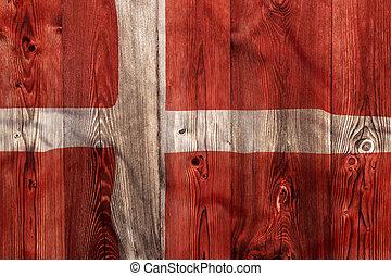 National flag of Denmark, wooden background