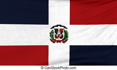 National flag of Dominicana flying on the wind