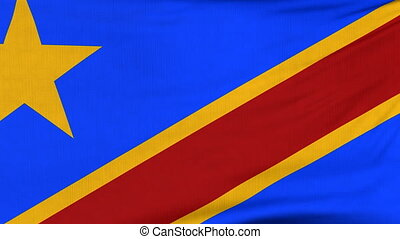 National flag of DR Congo flying on the wind