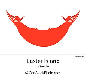National flag of Easter Island with correct proportions, element, colors